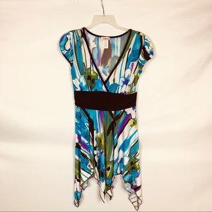 Belinda Black And Blue Shark Bite Hem Summer Dress